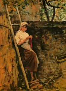 Country Girl Leaning against a Ladder