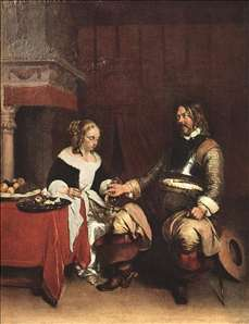 Man Offering a Woman Coins