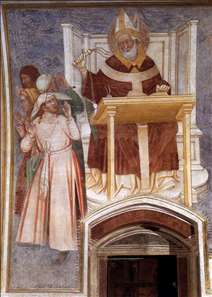 St Ambrose Enthroned Flagellating Two Heretics