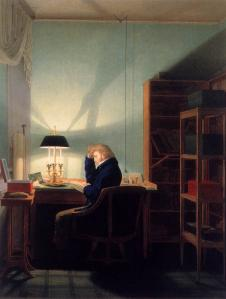 Man Reading at Lamplight