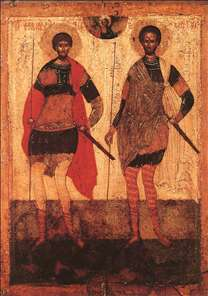 Icon of St Theodore Stratilates and St Theodore Tyron