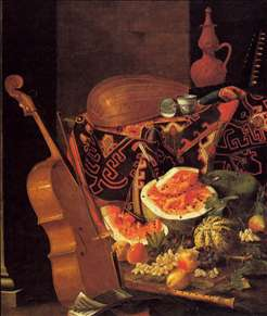 Still-Life with Musical Instruments and Fruit