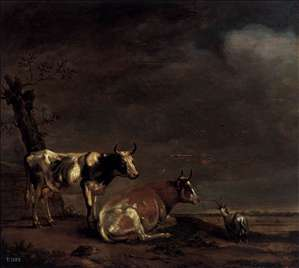Landscape with Two Cows and a Goat