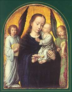Mary and Child with two Angels Making Music