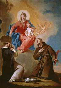 Rosary Mother of God with Sts Dominic and Francis of Assisi