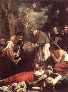 St Macarius of Ghent Giving Aid to the Plague Victims