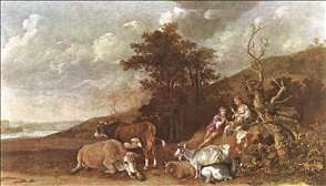 Landscape with Shepherdess and Shepherd Playing Flute