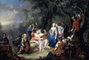 Elegant Company with Figures Playing Musical Instruments