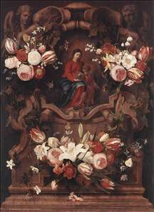 Floral Wreath with Madonna and Child