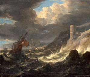 Shipping off a Rocky Coast in Storm
