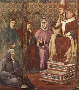 Legend of St Francis: 17. St Francis Preaching before Honorius III