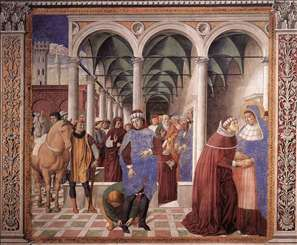 Arrival of St Augustine in Milan (scene 8, north wall)