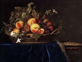 Still-Life with a Basket of Fruit on a Marble Ledge