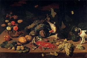Still-Life with a Monkey Stealing Fruit