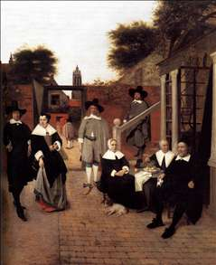 Portrait of a Family in a Courrtyard in Delft