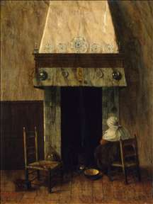 An Old Woman by a Fireplace
