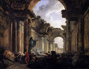 Imaginary View of the Grande Galerie in the Louvre in Ruins