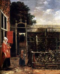 Woman with a Child Blowing Bubbles in a Garden
