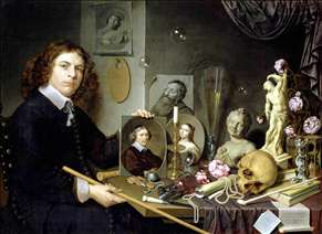 Self-Portrait with Vanitas Symbols