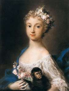 Young Girl Holding a Monkey