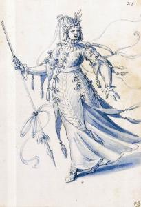 Costume drawing of a woman bearing a lance