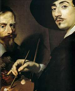 Self-Portrait with a Portrait on an Easel (detail)