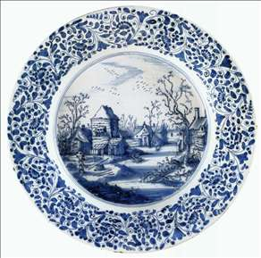 Dish with a Winter Landscape