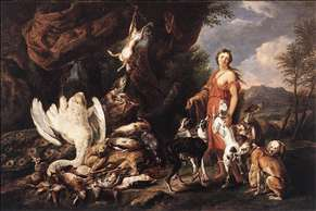 Diana with Her Hunting Dogs beside Kill