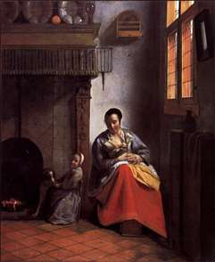 A Woman Nursing an Infant with a Child and a Dog