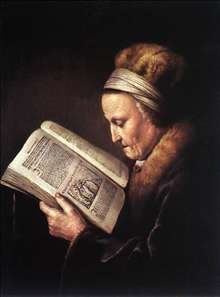 Old Woman Reading a Bible