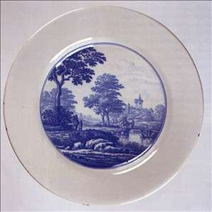 Dish with a landscape