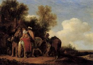 A Party of Riders Resting beside an Inn