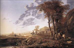 Evening Landscape with Horsemen and Shepherds
