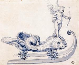 Sketch for a sleigh with figures