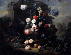 Still-Life with Flowers, Fruit and Birds in the Open