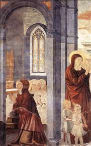 St Augustine Leaving his Mother (scene 3, east wall)