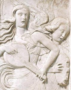 Angels Playing a Lute and Tambourine (detail)