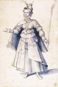Costume drawing of a woman bearing a torch
