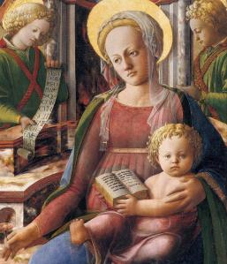 Madonna and Child Enthroned with Two Angels (detail)