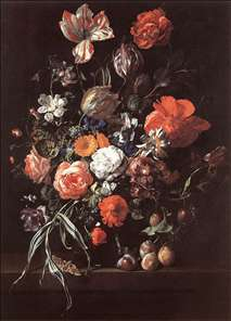 Still-Life with Bouquet of Flowers and Plums