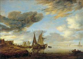 Sailing Boats near a Village