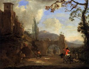 Landscape with Ruins and Hunting Party