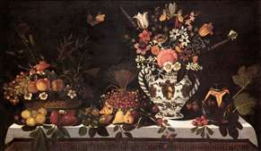 Fruit Still-Life with a Vase of Flowers