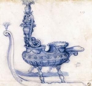 Sketch for a Sleigh Shaped like a Basket of Flowers