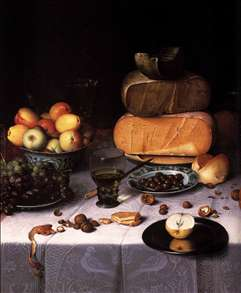 Laid Table with Cheeses and Fruit (detail)