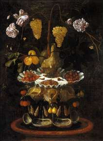 Still-Life with a Shell Fountain, Fruit and Flowers