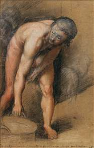 Male Figure Stooping to Lift a Cauldron