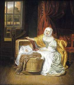 Mother with a Child in a Wicker Cradle