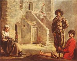 Peasants at their Cottage Door