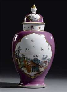 Purple-Ground Baluster Vase and Cover